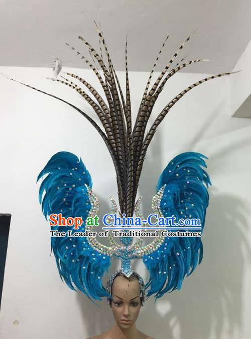 Professional Samba Dance Hair Accessories Brazilian Rio Carnival Blue Feather Headdress for Women