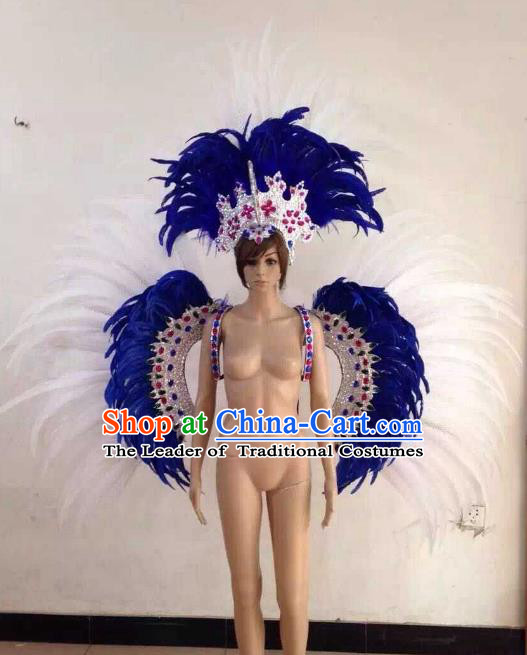 Customized Halloween Catwalks Props Brazilian Rio Carnival Samba Dance White Feather Deluxe Wings and Headwear for Women