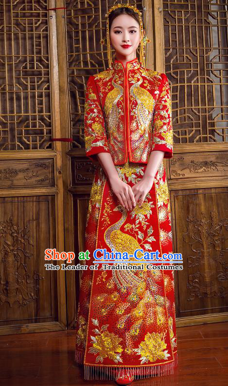 Traditional Chinese Bridal Costumes Ancient Bride Red Embroidered Longfeng Flown Wedding XiuHe Suit for Women