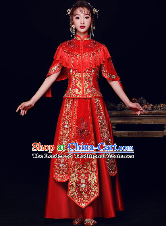 Traditional Chinese Bridal Costumes Ancient Bride Red Embroidered Longfeng Flown Wedding Diamante XiuHe Suit for Women