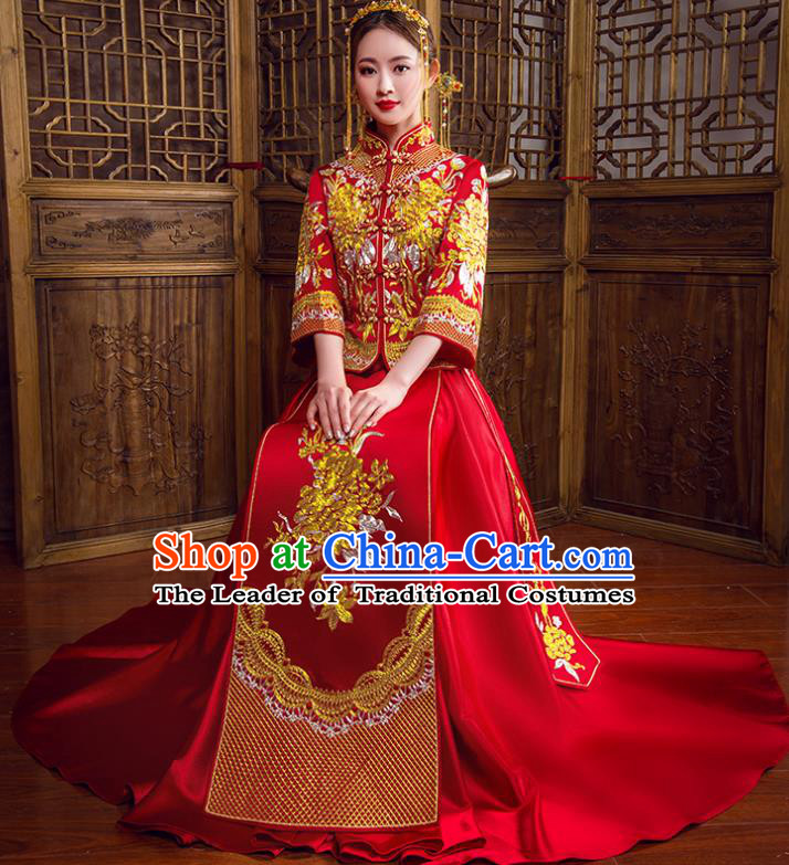 Traditional Chinese Bridal Wedding Costumes Ancient Bride Red Embroidered Peony Longfeng Flown XiuHe Suit for Women