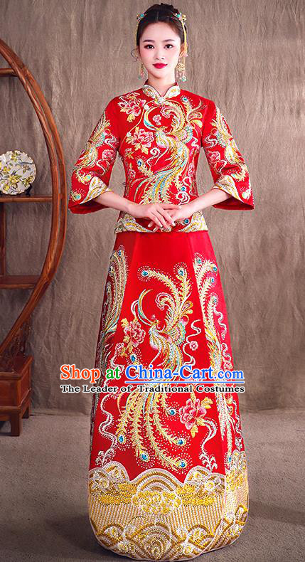 Traditional Chinese Wedding Bridal Costumes Ancient Bride Red Embroidered Phoenix Full Dress XiuHe Suit for Women