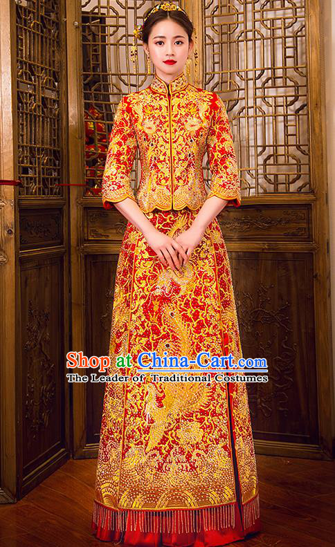 Traditional Chinese Female Wedding Costumes Ancient Embroidered Phoenix Full Dress Red XiuHe Suit for Bride