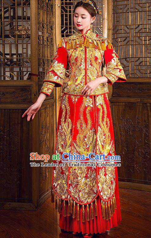 Traditional Chinese Female Wedding Costumes Ancient Embroidered Diamante Full Dress Red XiuHe Suit for Bride