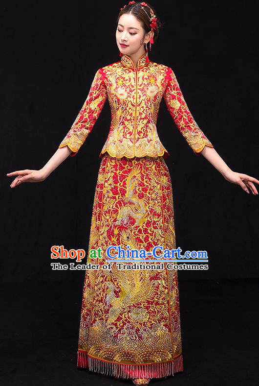 Traditional Chinese Female Wedding Costumes Ancient Embroidered Phoenix Red Full Dress XiuHe Suit for Bride