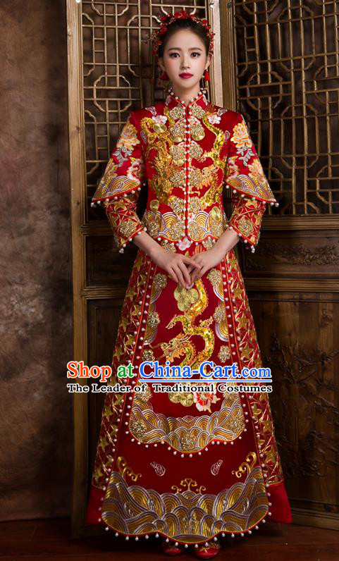 Traditional Chinese Bridal Costumes Ancient Bride Wedding Embroidered Pearls XiuHe Suit for Women