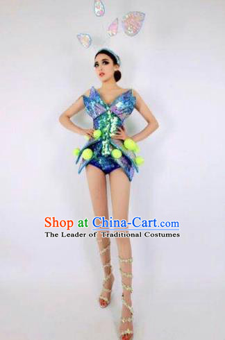 Top Grade Catwalks Blue Costume Halloween Stage Performance Brazilian Carnival Clothing for Women