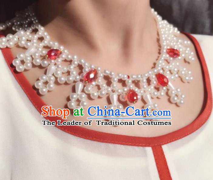 Handmade Chinese Traditional Accessories Hanfu Red Crystal Necklace for Women