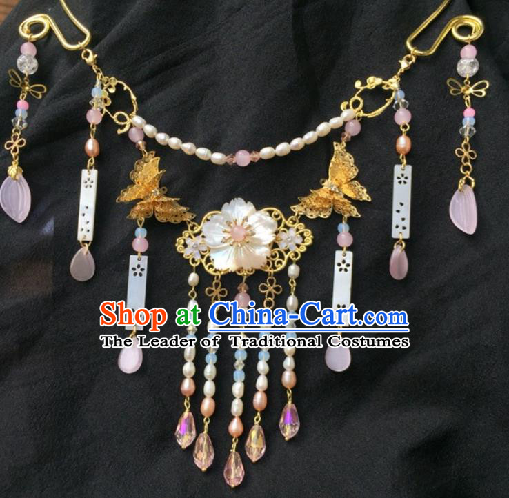 Handmade Chinese Traditional Accessories Hanfu Pearls Tassel Necklace for Women