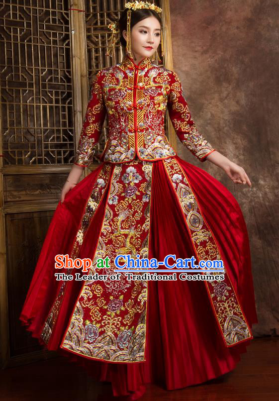 Chinese Traditional Wedding Costumes Ancient Bride Embroidered Dragon Peony Diamante Xiuhe Suit for Women