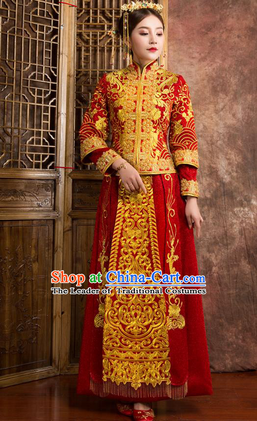 Chinese Traditional Wedding Costumes Ancient Bride Embroidered Red Xiuhe Suit for Women