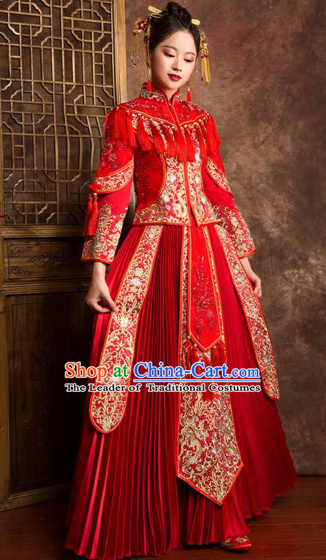 Traditional Chinese Wedding Costumes Ancient Bride Embroidered Red XiuHe Suit for Women