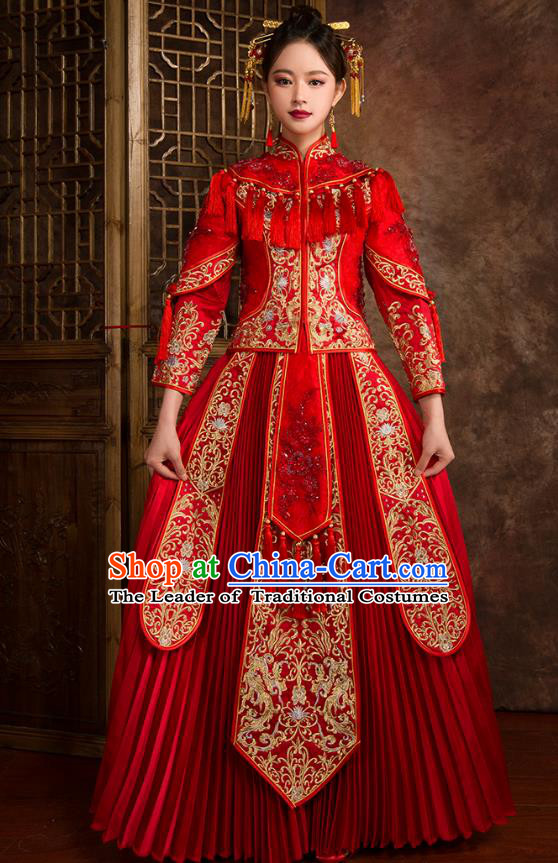 Traditional Chinese Wedding Red Costumes Ancient Bride Embroidered XiuHe Suit for Women