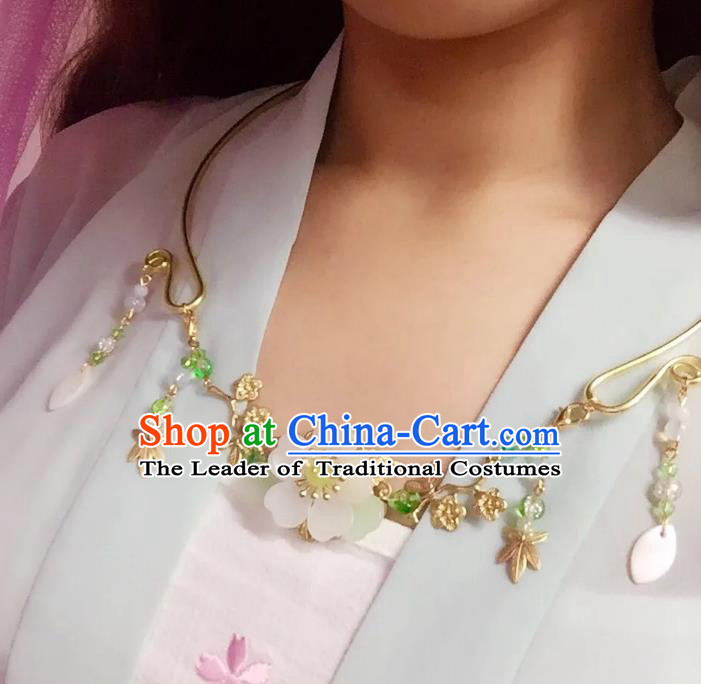 Handmade Chinese Traditional Accessories Hanfu Cherry Blossom Necklace for Women