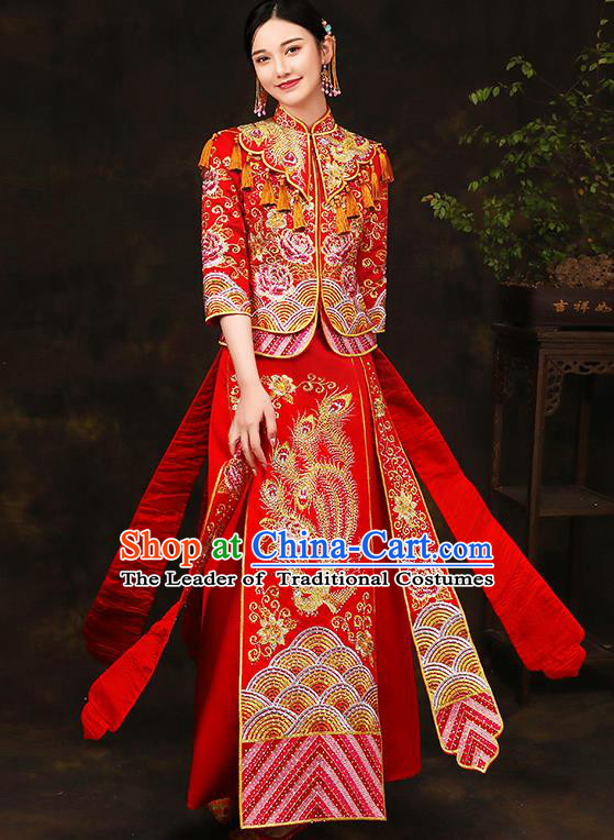 Traditional Chinese Female Wedding Costumes Ancient Embroidered Peony Red Bottom Drawer XiuHe Suit for Bride