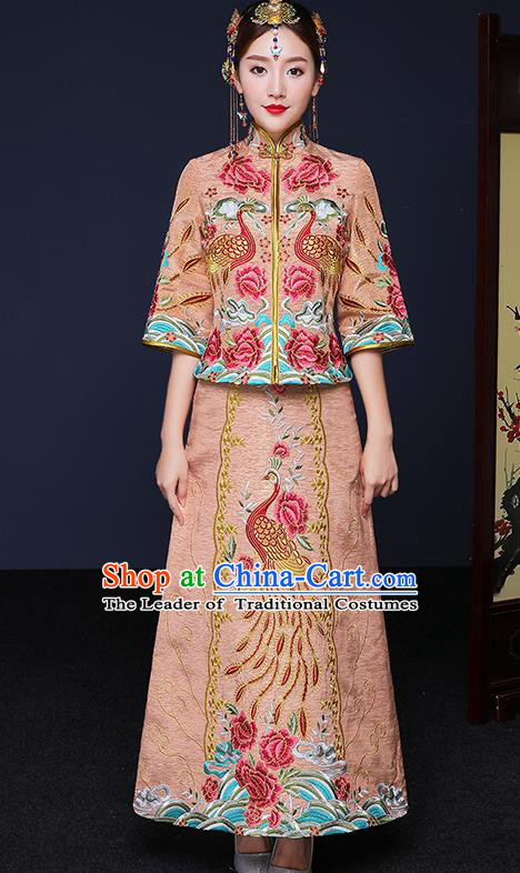 Traditional Chinese Female Wedding Costumes Ancient Bottom Drawer Embroidered Phoenix Peony XiuHe Suit for Bride