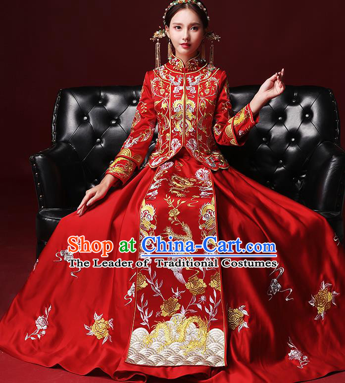 Traditional Chinese Wedding Costumes Red Full Dress Ancient Bottom Drawer Embroidered XiuHe Suit for Bride