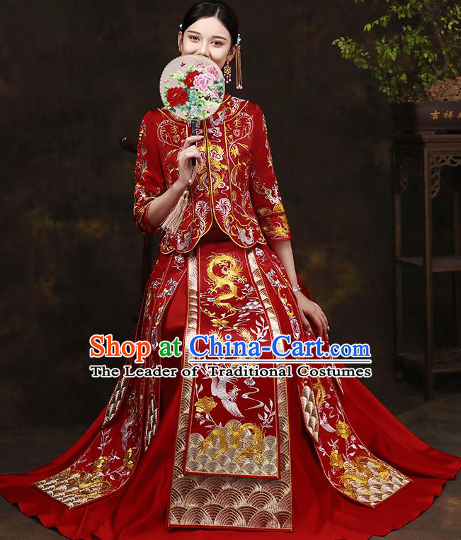 Traditional Chinese Style Female Wedding Costumes Ancient Embroidered Dragon Phoenix Bottom Drawer XiuHe Suit for Bride