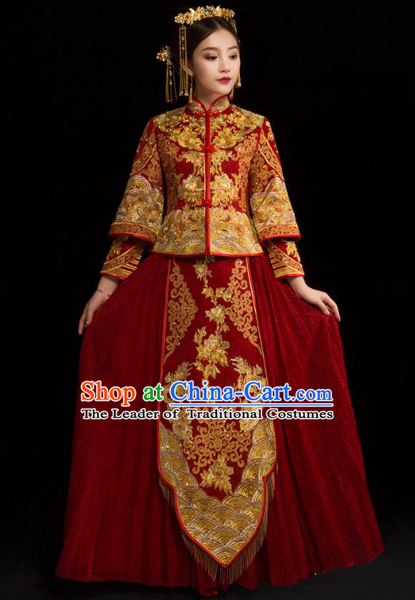Traditional Chinese XiuHe Suit Wedding Costumes Embroidered Red Full Dress Ancient Bottom Drawer for Bride