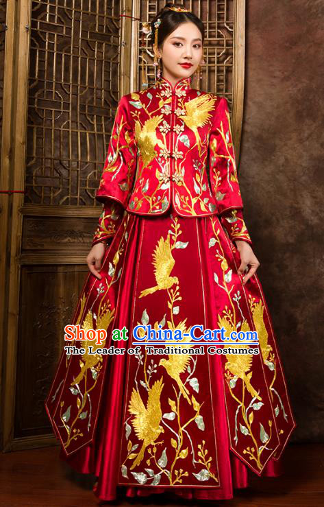 Traditional Chinese Embroidered Birds XiuHe Suit Wedding Costumes Full Dress Ancient Bottom Drawer for Bride