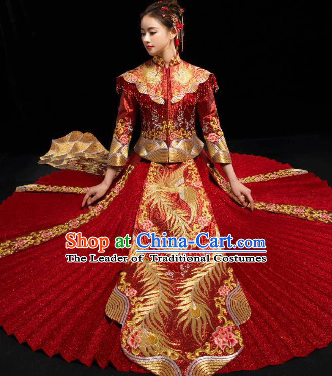 Traditional Chinese Embroidered Diamante Trailing XiuHe Suit Wedding Costumes Full Dress Ancient Bottom Drawer for Bride