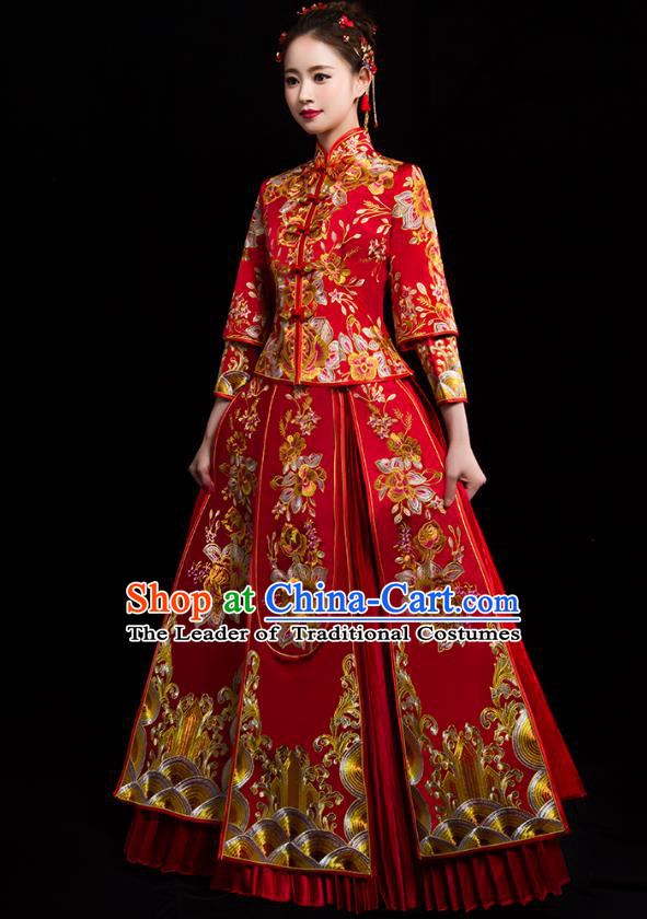 Traditional Chinese Embroidered Peony Diamante XiuHe Suit Wedding Costumes Full Dress Ancient Bottom Drawer for Bride