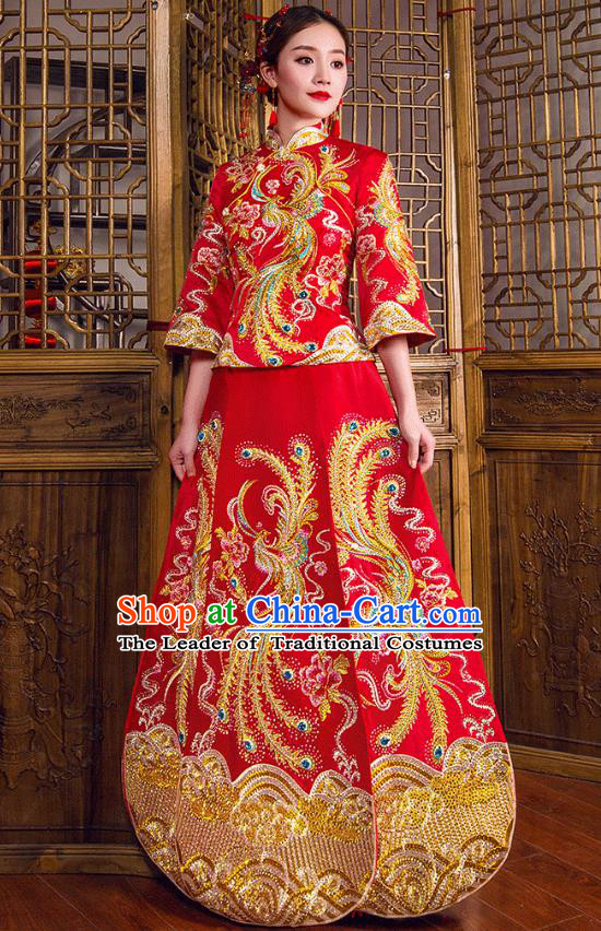 Traditional Chinese Embroidered Phoenix Diamante XiuHe Suit Wedding Costumes Full Dress Ancient Bottom Drawer for Bride