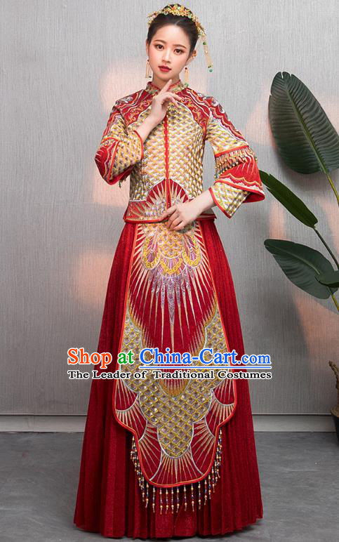 Traditional Chinese Embroidered Wedding Costumes Slim XiuHe Suit Ancient Bottom Drawer for Women