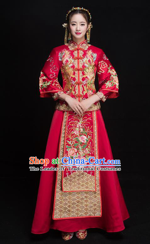Chinese Ancient Embroidered Phoenix Peony Wedding Costumes Bride Formal Dresses Red XiuHe Suit for Women