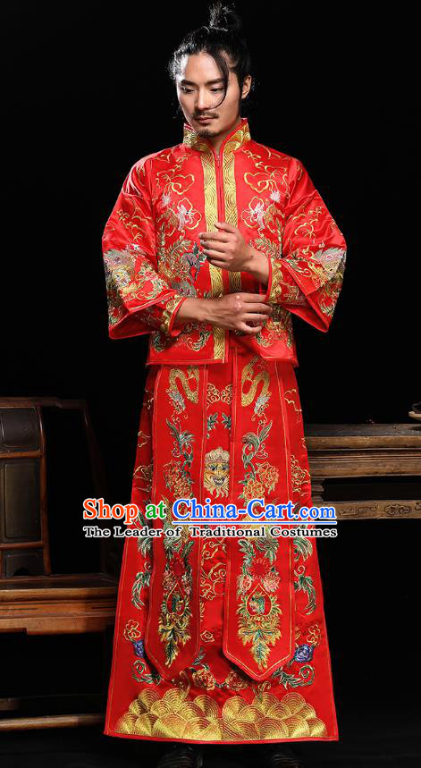 Ancient Chinese Wedding Toast Costumes Traditional Bridegroom Embroidered Dragon Peony Tang Suit for Men