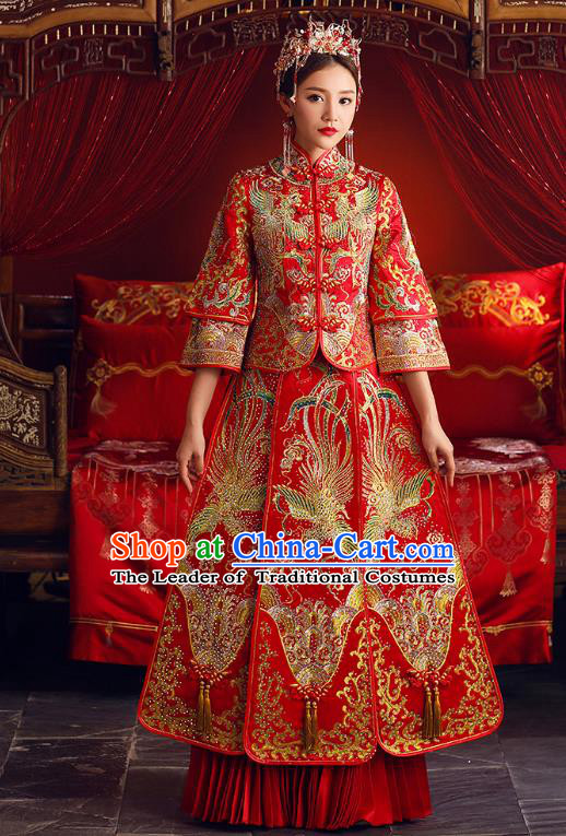 Chinese Ancient Bride Formal Dresses Embroidered Beading Cheongsam XiuHe Suit Traditional Wedding Costumes for Women