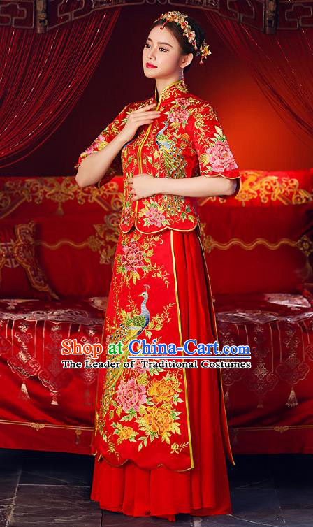 Chinese Ancient Traditional Wedding Costumes Bride Formal Dresses Embroidered Phoenix Cheongsam XiuHe Suit for Women