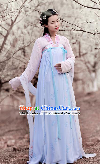 Ancient Chinese Tang Dynasty Princess Costume Embroidered Hanfu Dress for Rich Women