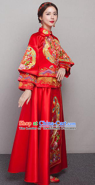 Chinese Ancient Wedding Costumes Bride Formal Dresses Embroidered Peony Slim Red XiuHe Suit for Women