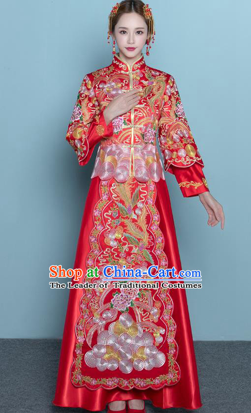 Chinese Ancient Wedding Costumes Bride Red Formal Dresses Embroidered Peony Toast Qipao XiuHe Suit for Women
