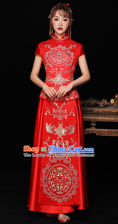 Chinese Ancient Wedding Costumes Bride Formal Dresses Embroidered Bat Longfenggua XiuHe Suit for Women