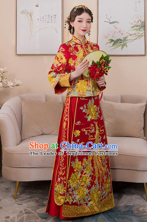 Chinese Ancient Bride Formal Dresses Wedding Costume Embroidered Phoenix Peony Longfenggua XiuHe Suit for Women