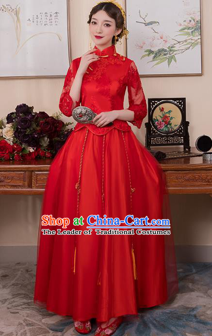 Chinese Ancient Bride Formal Dresses Wedding Costume Embroidered Red Lace Longfenggua XiuHe Suit for Women