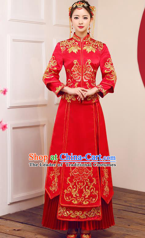 Top Grade Chinese Traditional Wedding Dress Ancient Bride Embroidered Diamante Peony XiuHe Suit for Women