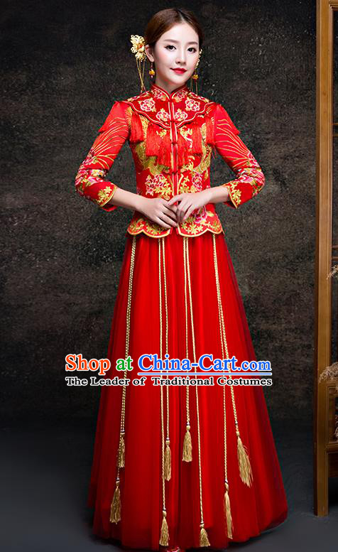 Top Grade Chinese Traditional Wedding Dress Red XiuHe Suit Ancient Bride Embroidered Peony Cheongsam for Women