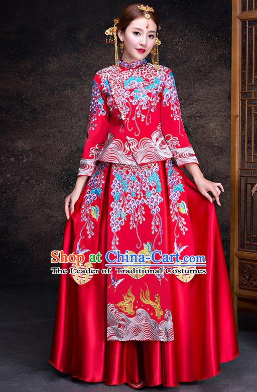Top Grade Chinese Traditional Wedding Dress XiuHe Suit Ancient Bride Embroidered Cheongsam for Women