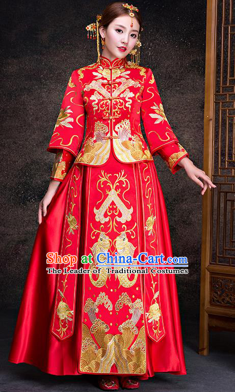Top Grade Chinese Traditional Red Wedding Dress XiuHe Suit Ancient Bride Embroidered Fishes Cheongsam for Women
