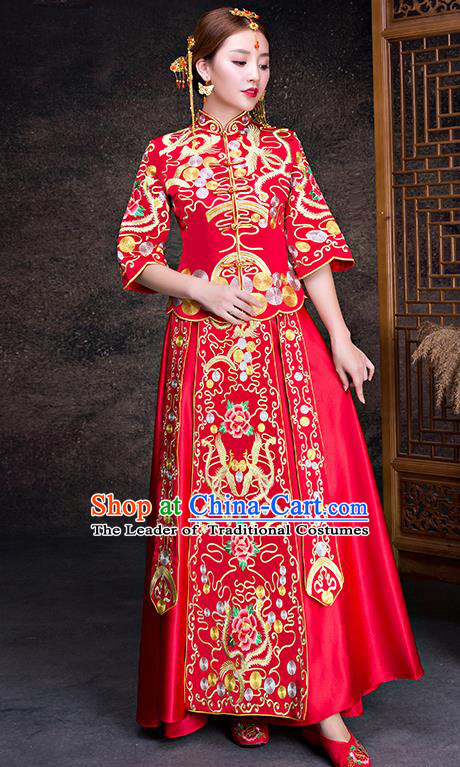 Chinese Traditional Wedding Dress Red XiuHe Suit Ancient Bride Embroidered Peony Cheongsam for Women