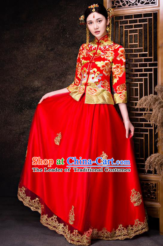Chinese Traditional Wedding Dress Red XiuHe Suit Ancient Bride Embroidered Peony Toast Cheongsam for Women