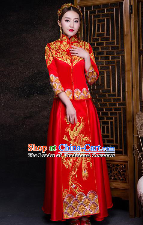 Chinese Traditional Wedding Costume XiuHe Suit Ancient Bride Embroidered Toast Formal Dress for Women