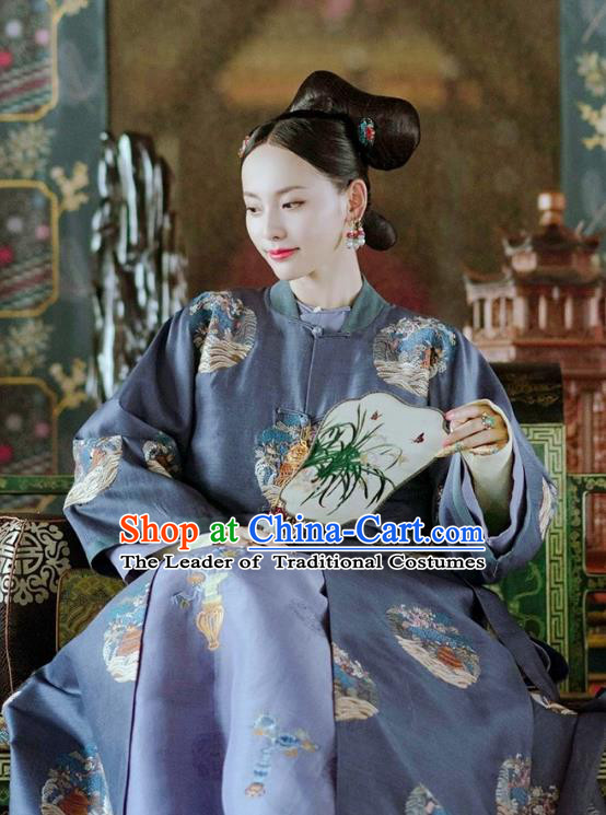 Chinese Ancient Drama Story of Yanxi Palace Qing Dynasty Imperial Consort Costumes and Headpiece Complete Set