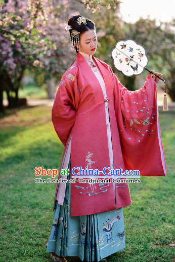 Chinese Ming Dynasty Maidenform Costume Ancient Contessa Embroidered Hanfu Dress for Women