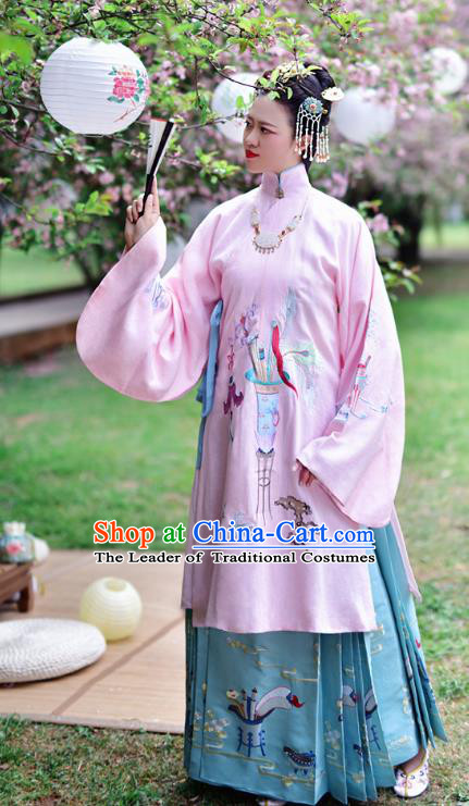 Chinese Ming Dynasty Young Lady Costume Ancient Princess Embroidered Hanfu Dress for Women