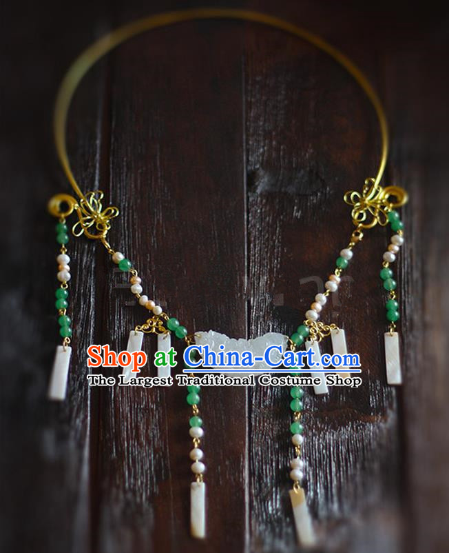 Top Grade Wedding Bride Jewelry Accessories Chinese Hanfu Jade Necklace for Women
