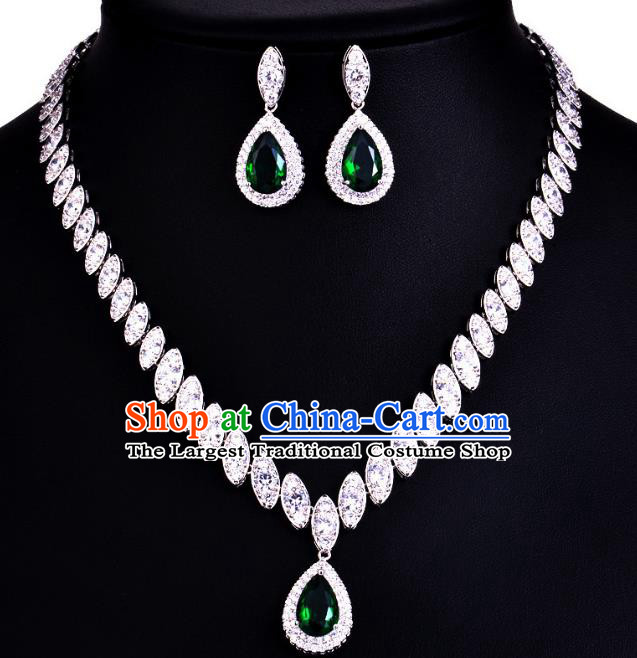 Top Grade Wedding Bride Jewelry Accessories Green Crystal Necklace and Earrings for Women